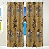 Vantaso Light Shading Window Curtains India Mandala Elephants Polyester 2 Pannels for Kids Girls Boys Bedroom Living Room 84 inch x 55 inch