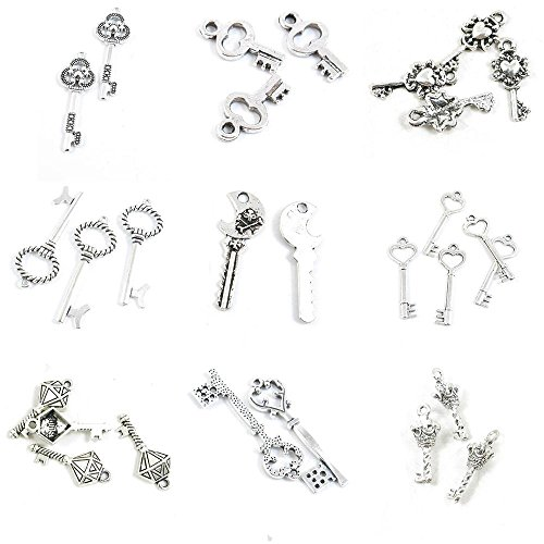 - 28 Pieces Antique Silver Tone Jewelry Making Charms Crown Skeleton Key Magic Diamond Love Heart Skull Fake