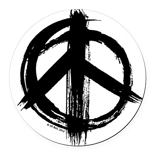 CafePress - Peace Sign - Black - Round Car Magnet, Magnetic Bumper Sticker (Round Magnetic Signs)