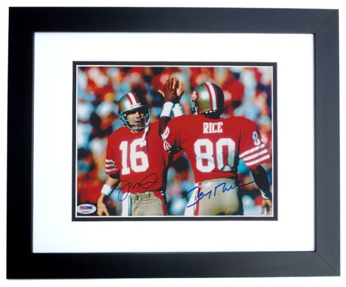 Joe Montana and Jerry Rice DUAL Autographed / Hand Signed San Francisco 49ers 8x10 Photo - BLACK CUSTOM FRAME - PSA/DNA Authenticated - Psa Dna Autographs