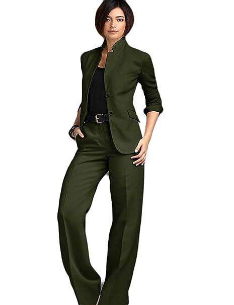 Amazon.com: WZW Chaqueta Pantalones Mujer Traje de Negocios ...