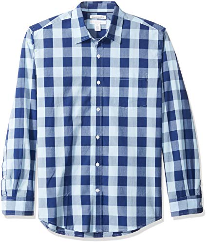 Amazon Essentials Men's Regular-Fit Long-Sleeve Casual Poplin Shirt, Blue Buffalo, X-Small