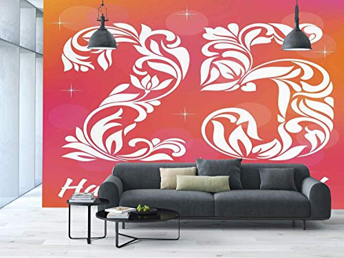 Funky Wall Mural Sticker [ 25th Birthday Decorations,Font with Leaves Flowers Hearts Number Twenty Five Stars,Pink Orange White ] Self-adhesive Vinyl Wallpaper / Removable Modern Decorating Wall Art