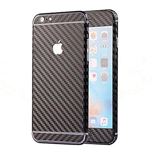 Toeoe Luxury 3D Textured Carbon Fibre Full Body Vinyl Wrap Sticker Skin Cover for Apple iPhone 6 4.7 inch Black