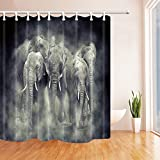 KOTOM National Park of Kenya Africa Shower Curtains for Bathroom, Wild Animals Elephant in Smoke, Polyester Fabric Waterproof Bath Curtain, Shower Curtain Hooks Included, 69X75in