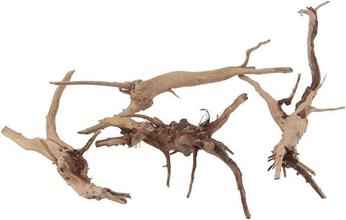 Emours - Ramas de madera natural para reptiles, decoración de acuario, varios tamaños, pequeño, 4 unidades