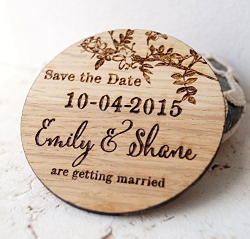 Wedding save the dates, wooden save the date magnets, set of 25 or 30 magnets