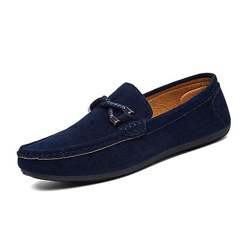 Yudesun Informal Mocasín Suave Zapatos Hombre - Hombres Moda Flat Slip On Cuero Resbalón Zapatillas Mocasines Alpargatas Deportes Running Naúticos Tenis ...