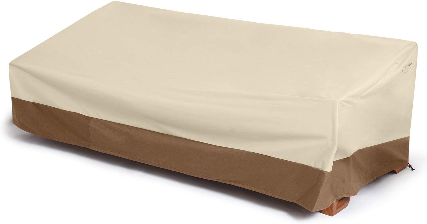 Delxo Patio Sofa Cover 3 Seater Waterproof Outdoor Sofa Cover Anti-UV Patio Furniture Sofa Cover with Elastic Hem and Padded Handles, Air Vents, Beige