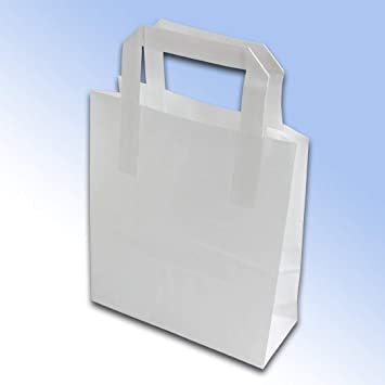 50 Kraft blanco bolsas de papel (bloque inferior) 175 x 90 x ...