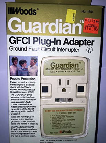 Woods Guardian Ground Fault Circuit Interrupter Plug-in Adapter (1651); 1875 Watt; 15 Ampere; 60 (Ground Fault Interrupter)