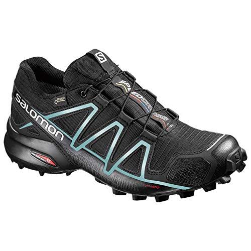 Salomon Women's Speedcross 4 GTX Running Trail Shoes Black/Black/Metallic Bubble Blue 9