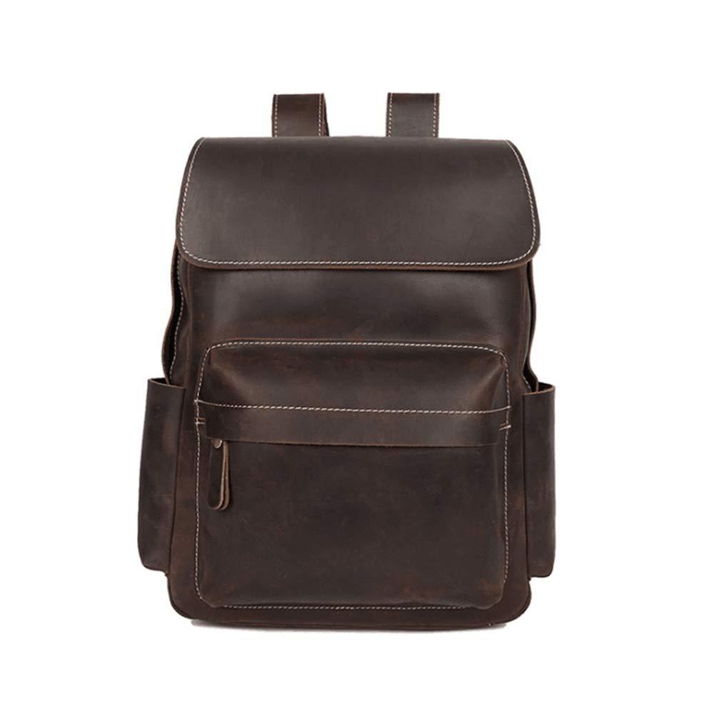 CeSuoLiBengDi ユニセックスヴィンテージレザーバックパックスクールカレッジブックバッグラップトップバッグ旅行デイパックメンズ (Color : Dark brown) B07GXF9VS5 Dark brown