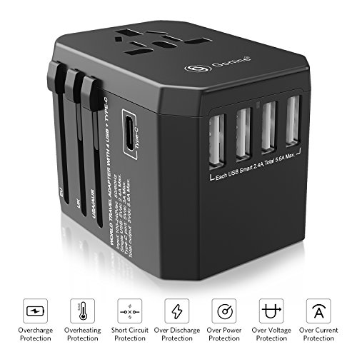 Universal USB Travel Adapter, Worldwide International All In One Wall Outlet European Charger, AC Power Plug Converter with 4 USB and Type C Ports For EU UK US AUS & Asia. (4 usb charger) by 69 Gonine