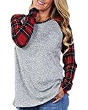 Coutgo Womens Summer Casual Long Sleeve Patchwork Tunic Blouse Shirts Tops