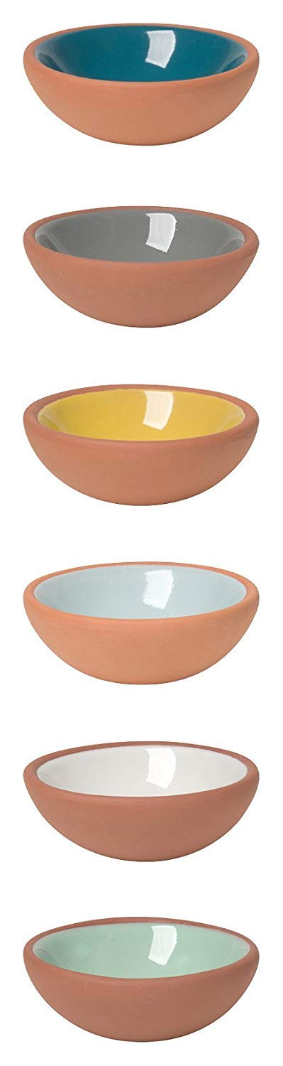 Now Designs Terracotta Pinch Bowls, Set of 6 (2 Sets)