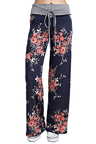 Marilyn & Main Women's Comfy Soft Stretch Floral Polka Dot Pajama Pants (Medium, Navy Flowered) Navy Blue Flowered