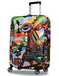 BG Berlin Stretchable Luggage Cover, Suitcase Hug, Water Resistant, Size Large, The European Style Print
