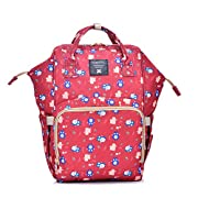Diaper Bag Multi-Function Waterproof Travel Backpack Nappy Bags for Baby Care, Large Capacity, Stylish and Durable, Mom Bag by Basic Life (red)