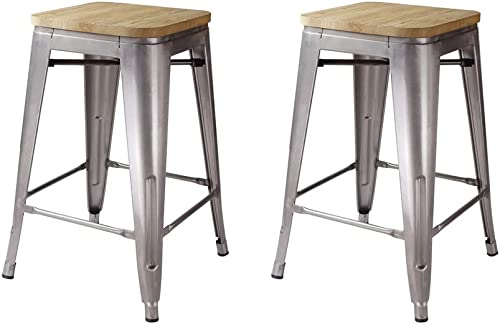GIA M01-24GM_LWOOD_VC 24-Inch Backless Counter Height Stool, 2-Pack, Gunmetal Light Wood Seat