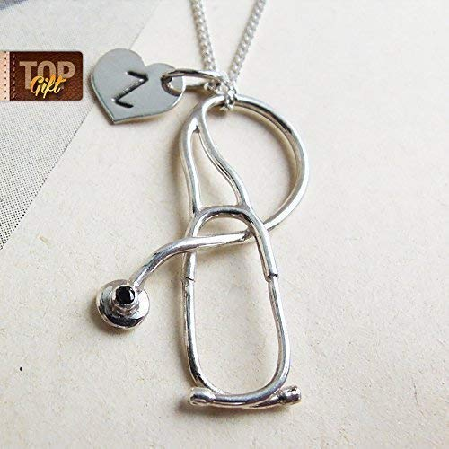 Sterling Silver Doctor Jewelry For Women Nurse Personalized Gift Handmade Medical Necklace Stethoscope With Initial Pendant Nursing Student Med Appreciation Graduation School Physician ()