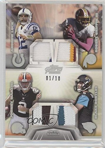 Andrew Luck  Robert Griffin Iii  Johnny Manziel  Blake Bortles  1 10  Football Card  2014 Topps Prime   Quad Combo Relics   Silver Rainbow  Qcr Lgmb