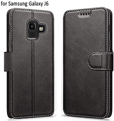 ykooe Funda Galaxy J6 2018, Funda Libro de Cuero Magnética Carcasa para Samsung Galaxy J6 2018 (Negro)