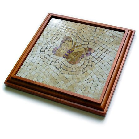 3dRose trv_52403_1 Real Mosaic Butterfly Trivet with Ceramic Tile, 8 by 8