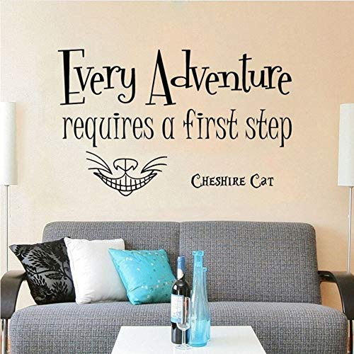 Meaosy Wall Decal Every Adventure Requires Quote Wall Sticker Cheshire Cat Vinyl Wall Mural Kids Room Decor 1646 for $<!--$25.08-->
