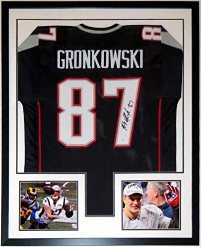 - Rob Gronkowski Signed New England Patriots Jersey & Super Bowl 53 8x10 Photos - JSA COA Authenticated - Professionally Framed 34x42