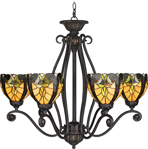 Landmark Lighting 270 Tiffany Six Light Up Lighting Chandelier from the Gramercy, Antique Gold Sand