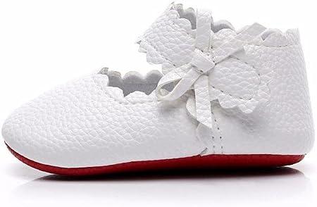Zapatos de Bebe Niñas Recién Nacido Primeros Pasos Antideslizante Suela Blanda Zapatos de Princesa