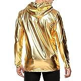 YiZYiF Men's Shinny Leather Metallic Long Sleeve Windproof Hoodie Pullover Sweatshirts Gold Large