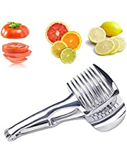ZHG Tomato Slicer Lemon Cutter Holder Aluminum Alloy Easy Slicing Round Fruits Kiwi Lime Vegetables Onion Potato Cutter Guide Tongs with Handle Kitchen Cutting Aid Holder Tool