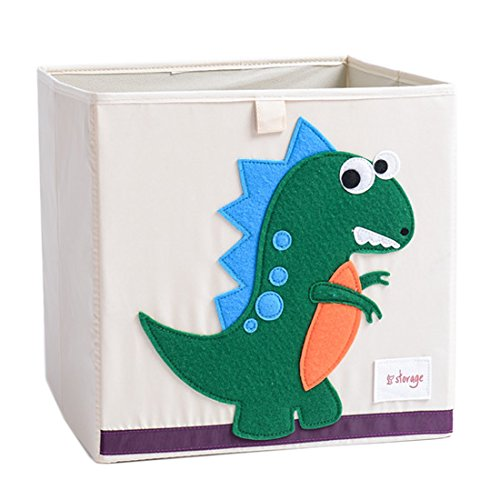 DODYMPS Foldable Animal Canvas Storage Toy Box/Bin/Cube/Chest/Basket/Organizer For Kids, 13 inch (Dinosaur) by DODYMPS