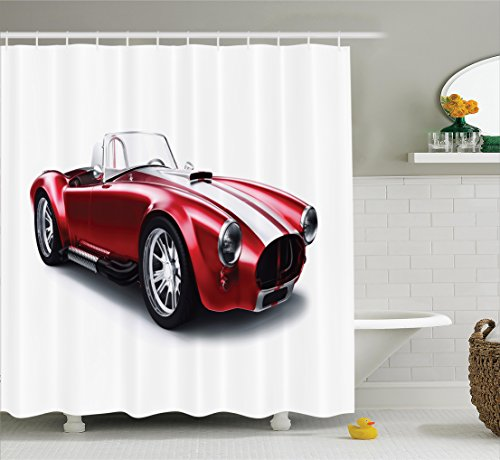 Cars Shower Curtain by Ambesonne, Old-Fashioned Vintage Coupe Car Automobile Illustration with Digital Smooth Color Effects, Fabric Bathroom Decor Set with Hooks, 75 Inches Long, Red
