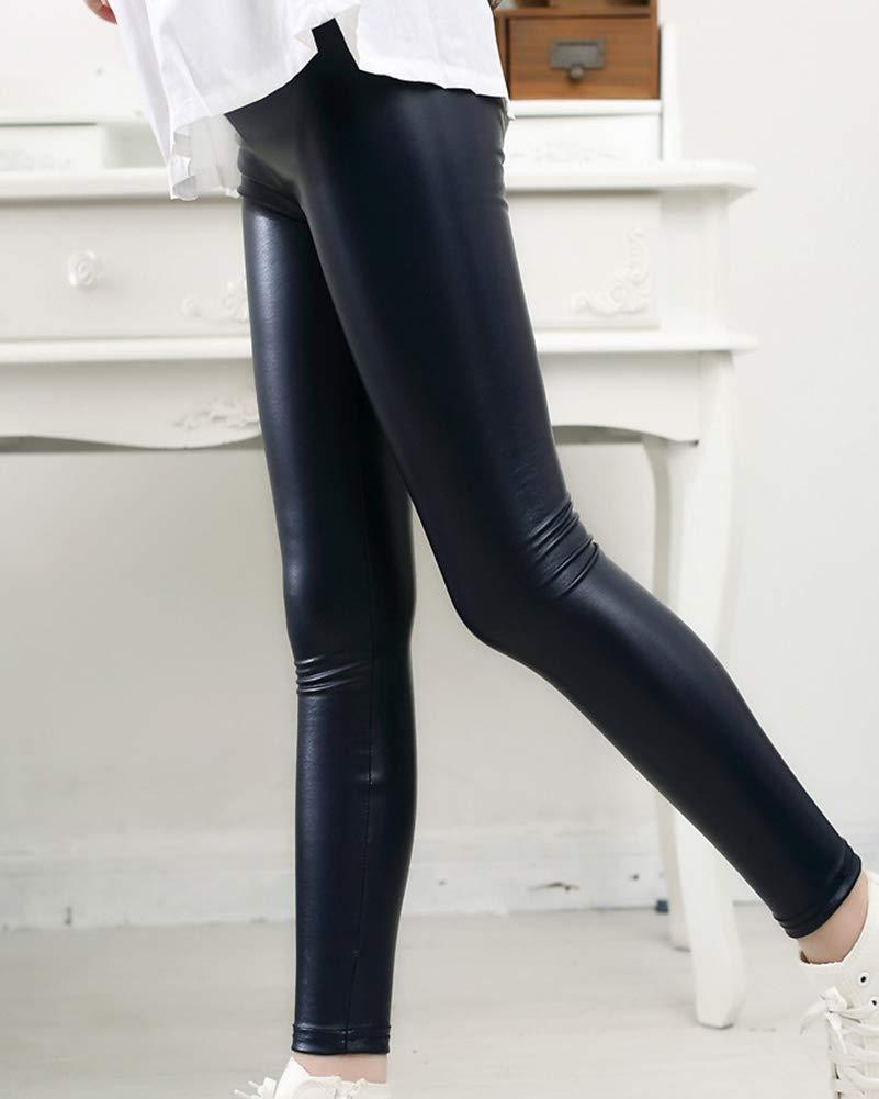 GladiolusA Ragazze Pantaloni di Pelle Pu del Bambini Stretch Lunghi Skinny Leggings Jogging Leggins