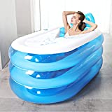 Bathtubs Freestanding Adult Folding Free Inflatable Bucket Household Fill Children's Plastic (Color : Blue Foot Pump, Size : 1307764cm)
