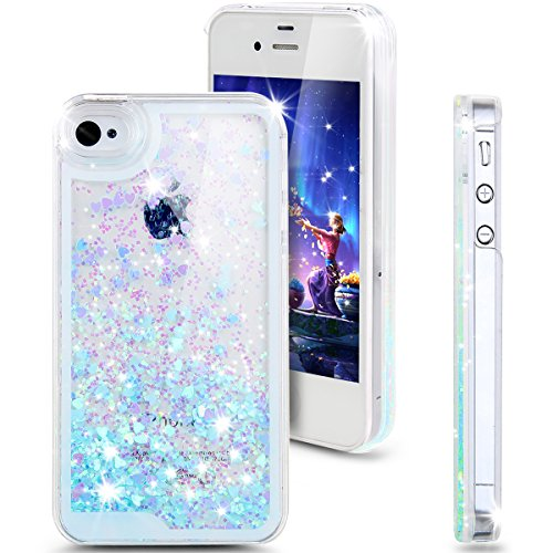 iPhone 4s Case, ikasus iPhone 4s Case ,Glitter Case for iPhone 4s,Case for iPhone 4s,Hard Case for iPhone 4s, Fashion Creative Design Flowing Glitter Floating Luxury Bling Glitter Sparkle Love Heart Hard Case for Apple iPhone 4s iPhone 4 (Love:Blue)