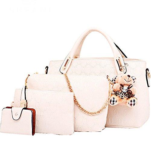 Shoulder Tote Purse FiveloveTwo Satchel Hobo Women Card Set Handle Pcs Large Top Holder Bag 4 Handbag Beige qTxSTAB7