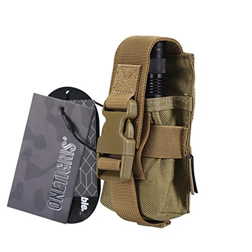 - OneTigris MOLLE Flashlight Holster 1000D Cordura for Fenix FD40/TK16/TK22 NITECORE MH27/CR6/TM03 (Tan)