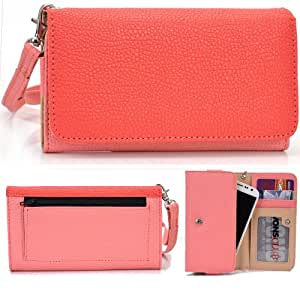 EXXIST® Classic Metro Series. Faux Leather Wallet / Clutch for Huawei Ascend P6-C00 CDMA (Color: Coral / Pink) -ESMLMTPC