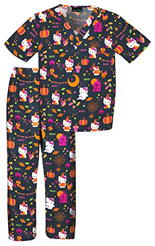 Tooniforms 6620C Kid's V-Neck Top and Elastic Waist Scrub Set Hello Kitty Candy Large