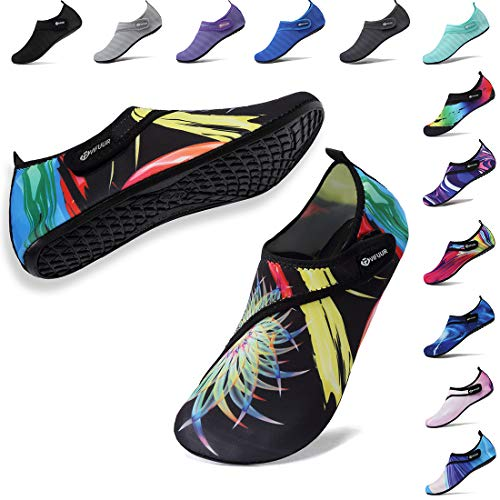 VIFUUR Mens Womens Aqua Socks Quick Dry Barefoot Beach Pool Swim Diving Surf Water Shoes Colorful Water Grass 38/39