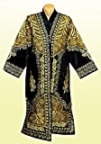 STUNNING UZBEK GOLD SILK EMBROIDERED ROBE CHAPAN FROM BUKHARA A7571