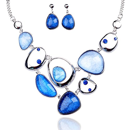 Tagoo Cute Sea Blue Jewelry Set for Women and Girls Antiallergic Pendant Necklace Earrings Resin Crystal Rhinestone -