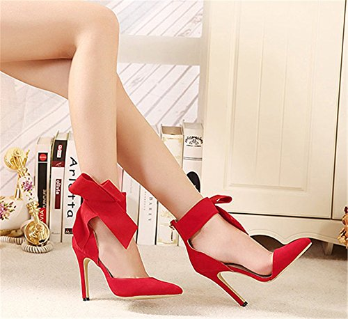 Wealsex Womens Ladies High Heel Stiletto Pointed Toe Suede Ankle Strap Bow Strap Court Shoes Sandals Dress Office Party Bridal Wedding Pumps Shoes Size UK 2.5-8 Red 1v807Q4