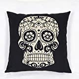 Weksi®Skull Style Cushion Cover 18 X18 Pillow Covers Cotton Linen Fabric Throw Pillow Cover Suitable for Decorative Pillow, Such as Bed Couch and Sofa Pillow Covers(Black Diamond Skull)