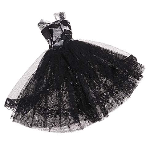SM SunniMix Gorgeous 12inch Fashion Doll Princess Evening Gown Lace Wedding Dress Outfits for Monster High School Girl Doll Accessory Black ()