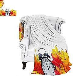 WilliamsDecor Clock Custom Design Cozy Flannel Blanket Autumnal Leaves and an Alarm Clock Fall Season Theme Romantic Digital Print Blanket 70x50 White and Orange